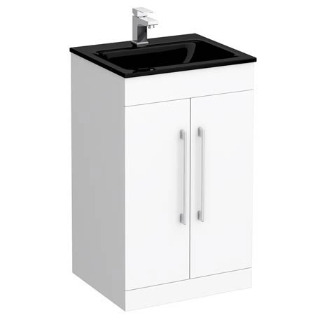 Eclipse Black Modern Vanity Unit (500mm Wide - 1 Tap Hole)
