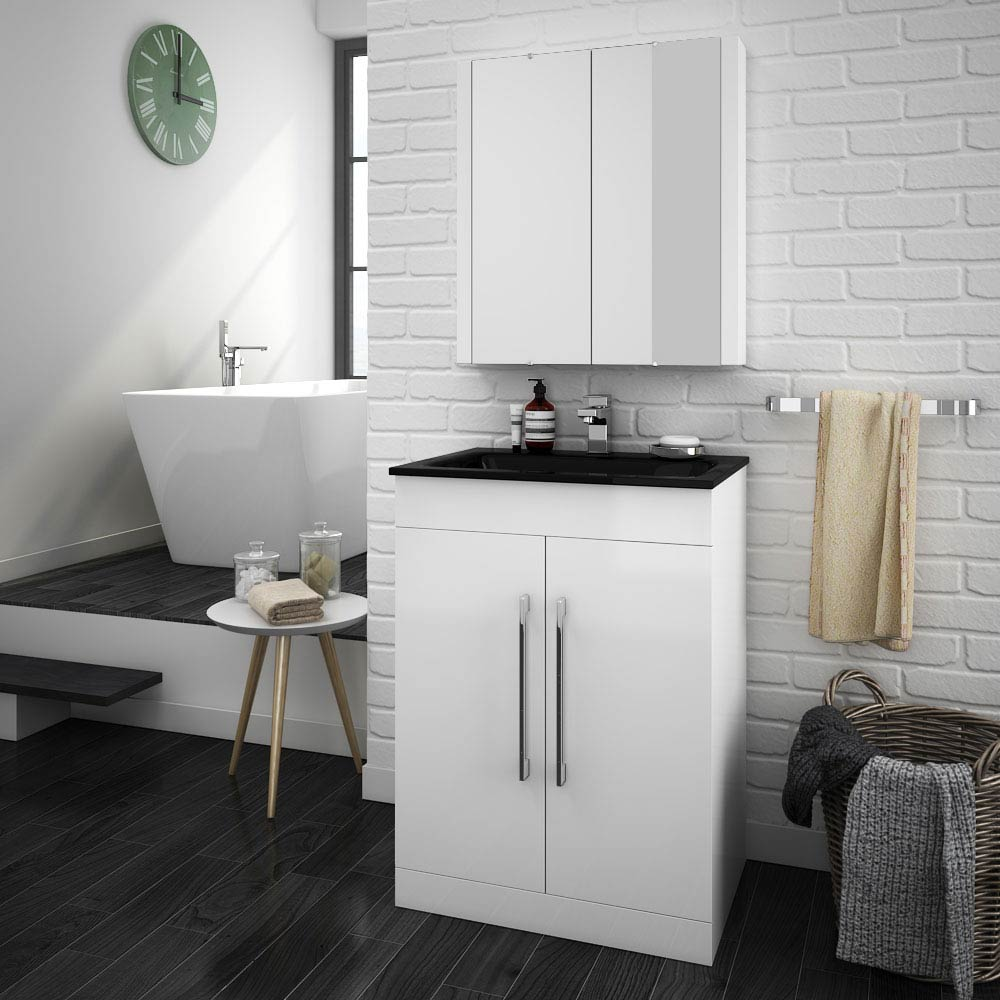 Eclipse Black Modern Vanity Unit (600mm Wide - 1 Tap Hole)  Feature Large Image