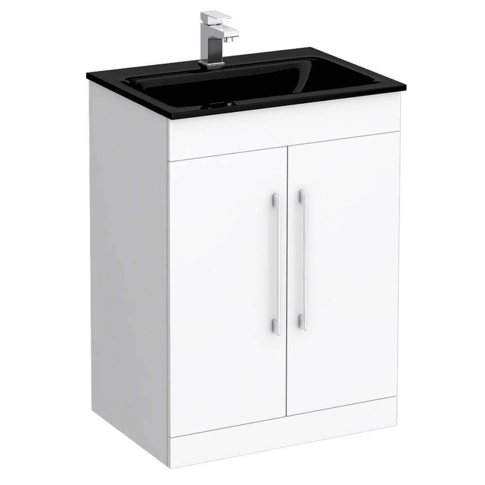 Eclipse Black Modern Vanity Unit (600mm Wide - 1 Tap Hole) profile large image view 1