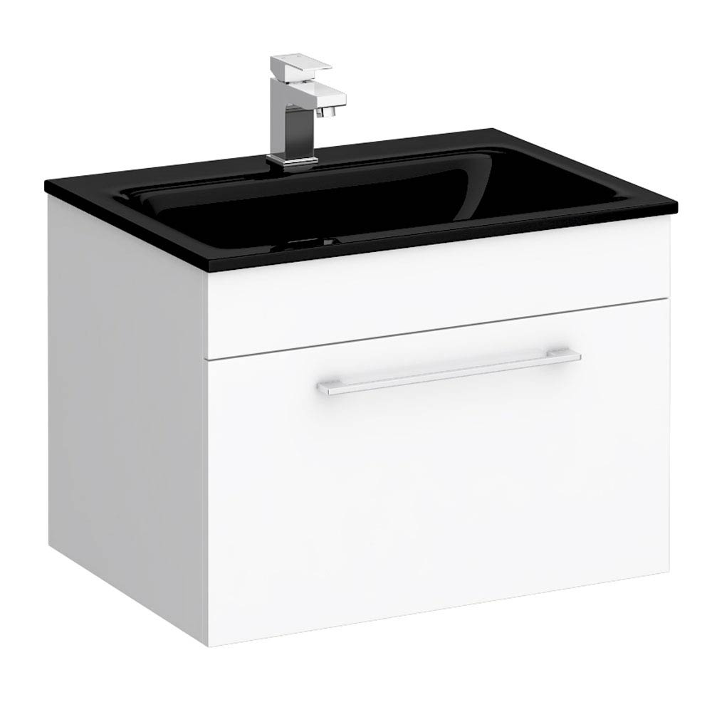 Eclipse Black Modern Wall Hung Vanity Unit (600mm Wide - 1 Tap Hole) Large Image