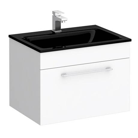 Eclipse Black Modern Wall Hung Vanity Unit (600mm Wide - 1 Tap Hole)
