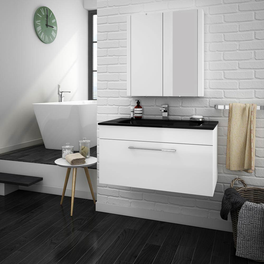 Eclipse Black Modern Wall Hung Vanity Unit (800mm Wide - 1 Tap Hole) profile large image view 3