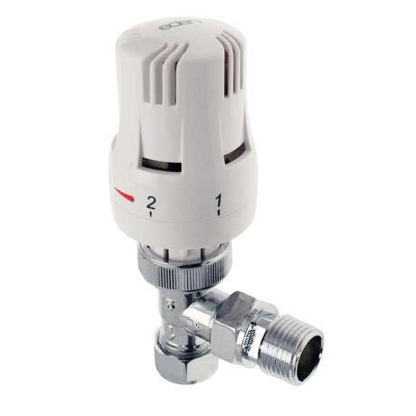 Eden 15mm Angled Thermostatic Radiator Valve - White - 315010