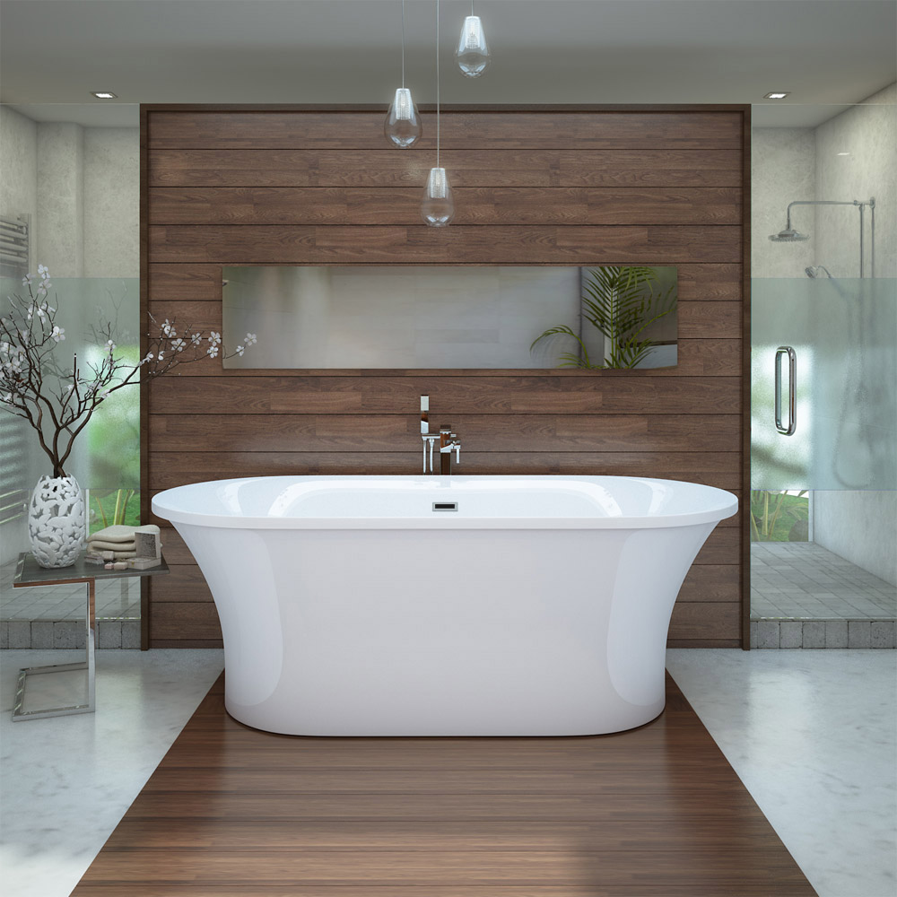 Eden 1750 Modern Roll Top Bath profile large image view 1