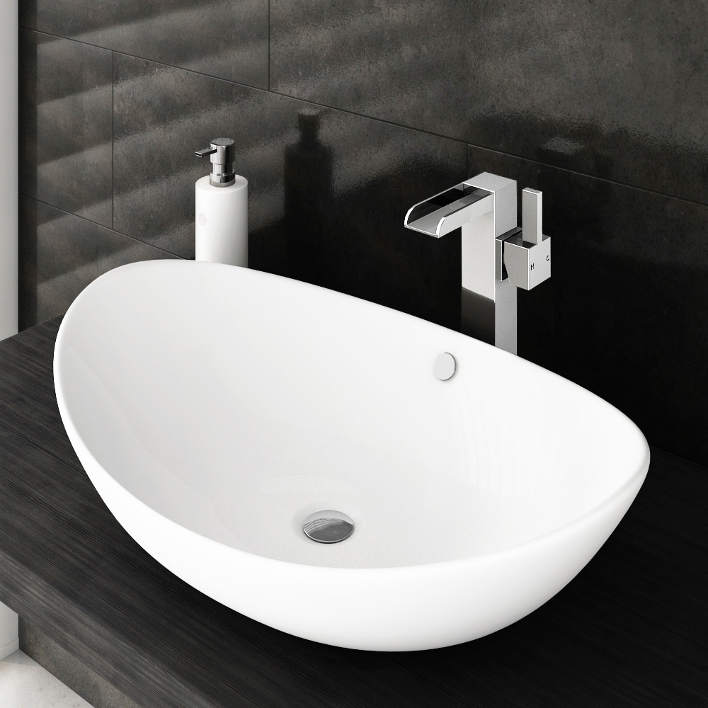Edge High Rise Waterfall Basin Mixer with Oval Counter Top Basin Large Image