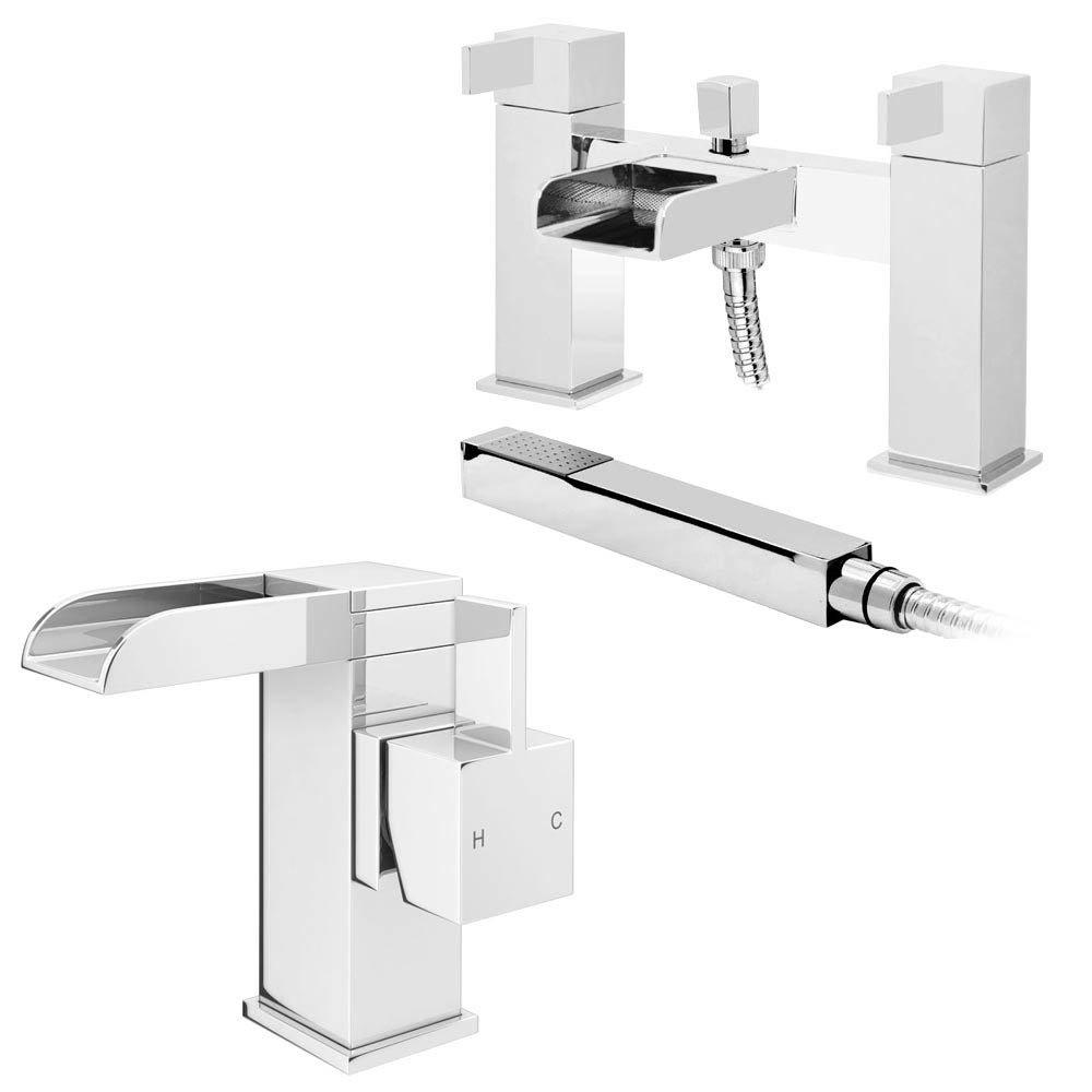 Edge Waterfall Basin + Bath Shower Mixer Tap Pack Large Image