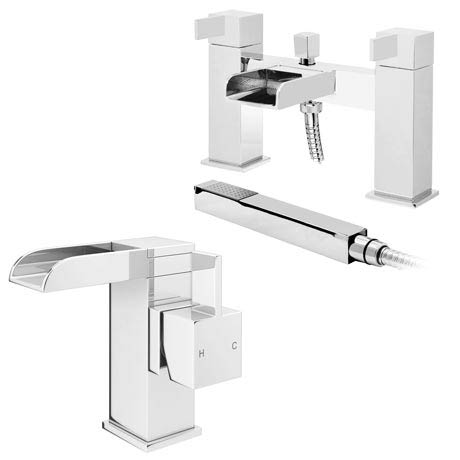 Edge Waterfall Basin + Bath Shower Mixer Tap Pack