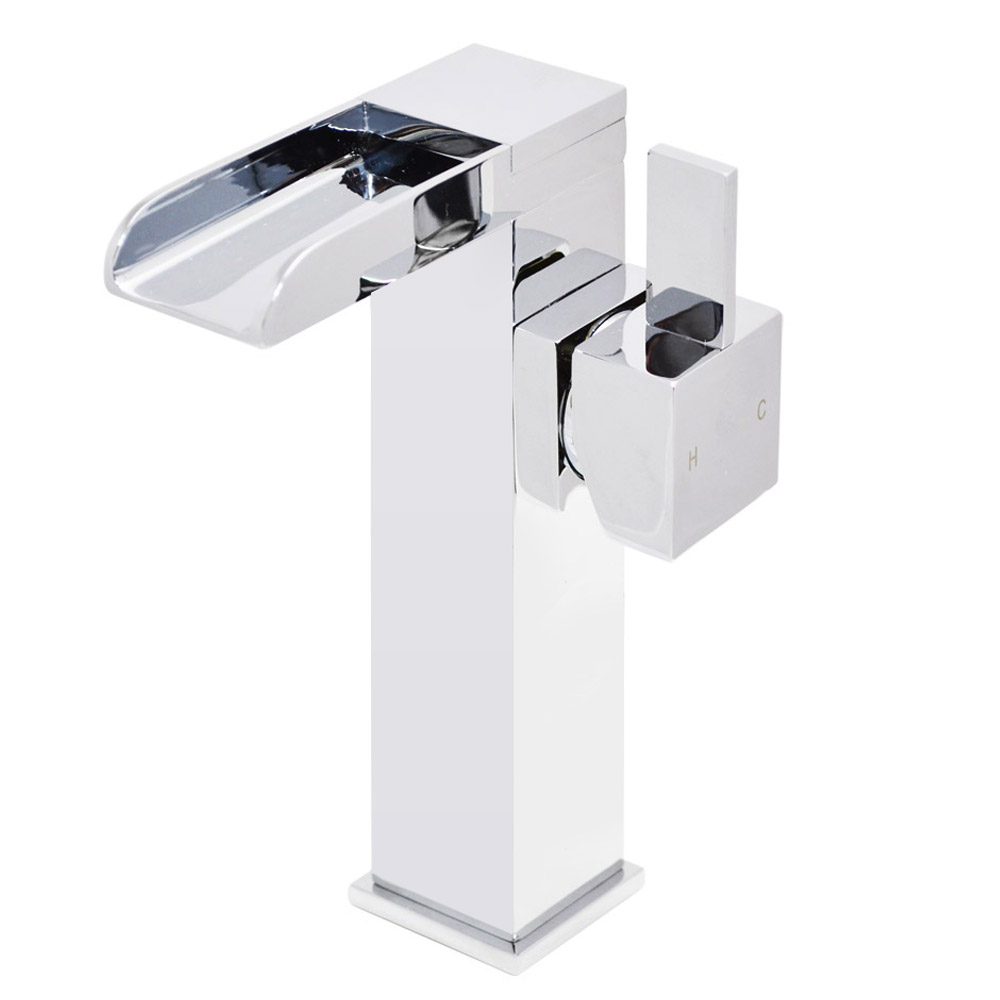 Edge Waterfall High Rise Mono Basin Mixer without Waste - Chrome Large Image