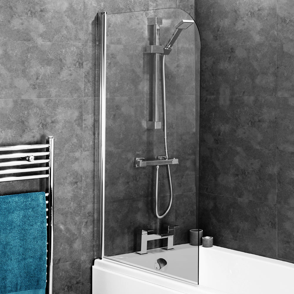 Edmonton 8mm Glass Hinged Curved Top Bath Screen (800 x 1400mm)