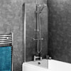 Edmonton 8mm Glass Hinged Curved Top Bath Screen (800 x 1400mm) profile small image view 1