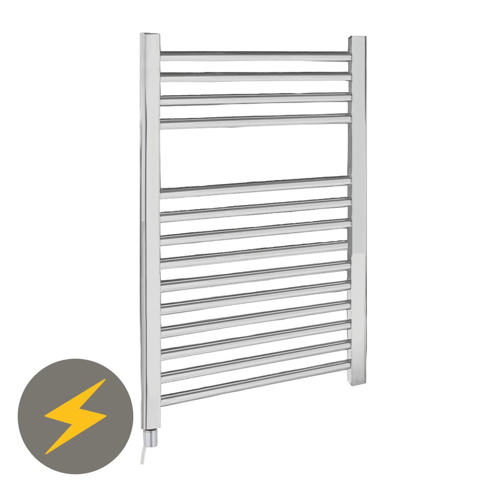 Electric-Only Heated Towel Rail 500 x 700mm - Chrome - MTY069 profile large image view 1