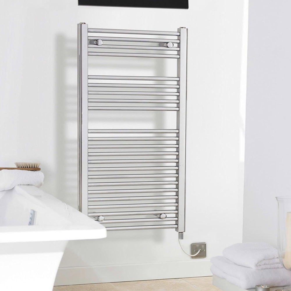 Electric-Only Heated Towel Rail 500 x 1100mm - Chrome - MTY068 profile large image view 2