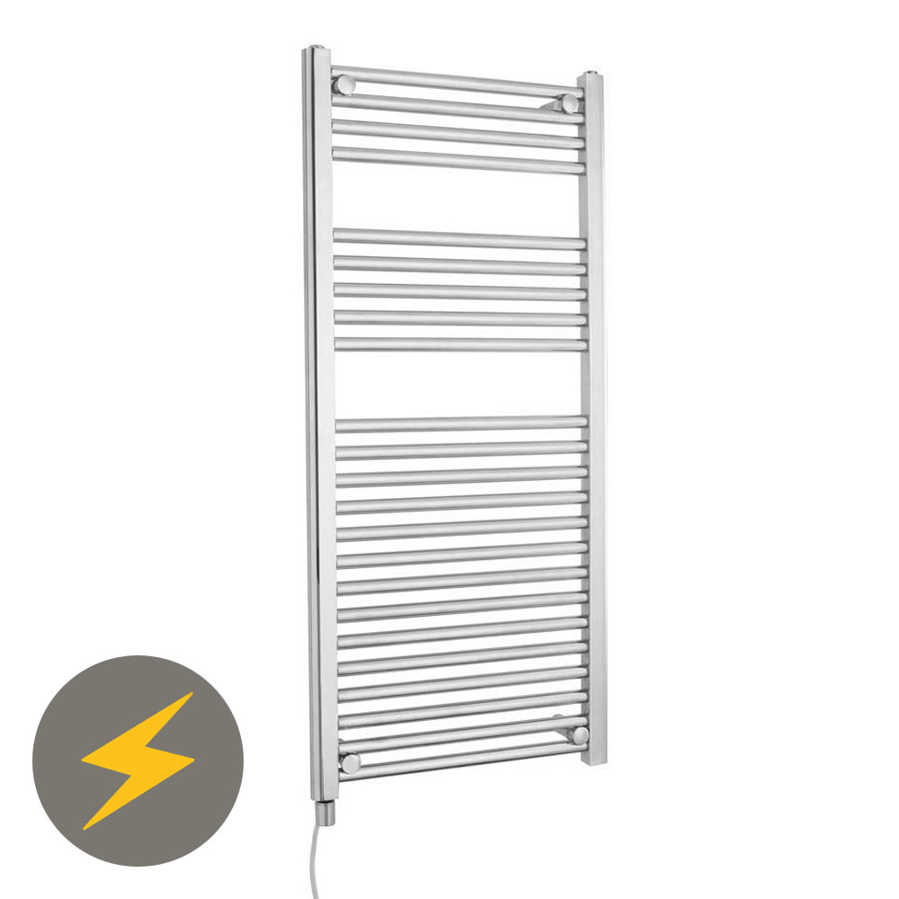 Electric-Only Heated Towel Rail 500 x 1100mm - Chrome - MTY068 Large Image
