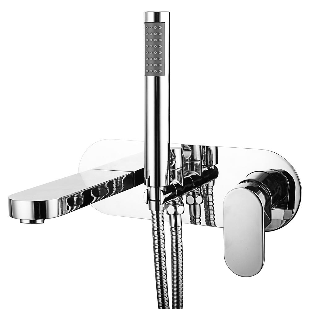 Elite Wall Mounted Bath Shower Mixer Tap + Shower Kit Large Image