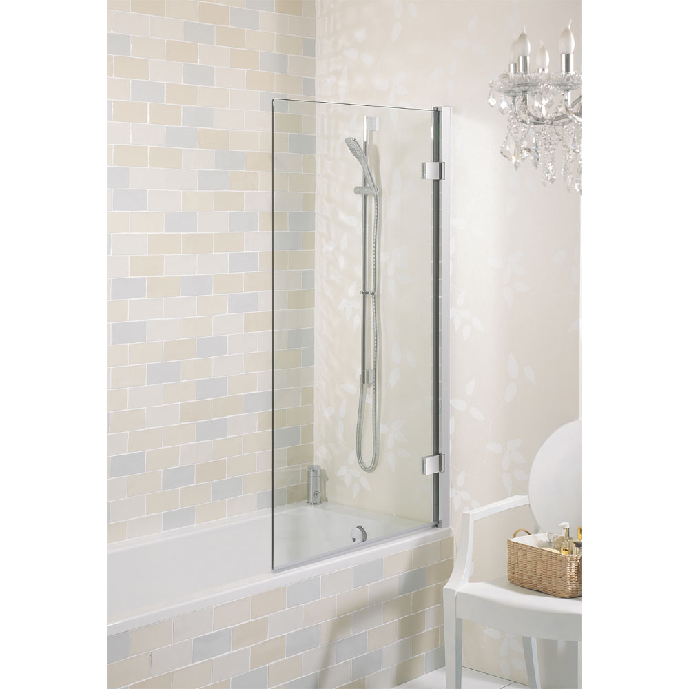 Simpsons Elite Hinged Bath Screen - 900mm profile large image view 1