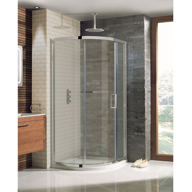 Simpsons - Elite Offset Quadrant Single Door Shower Enclosure - 3 Size Options Large Image