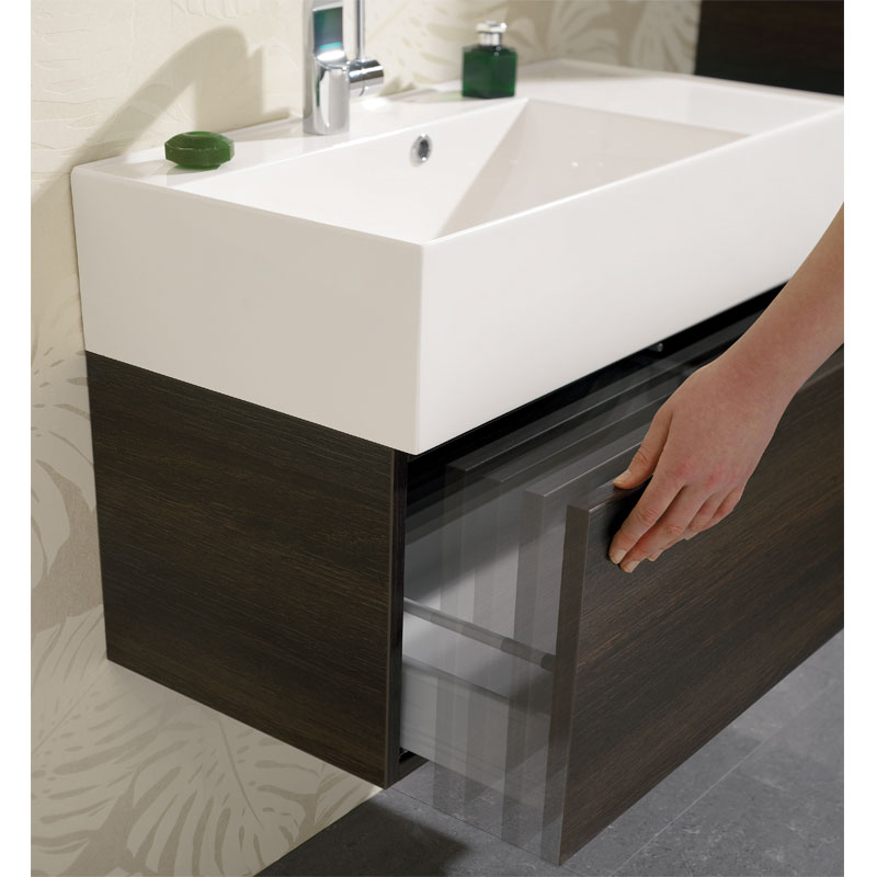 Bauhaus Elite Unit & Cast Mineral Marble Basin - Walnut profile large image view 2