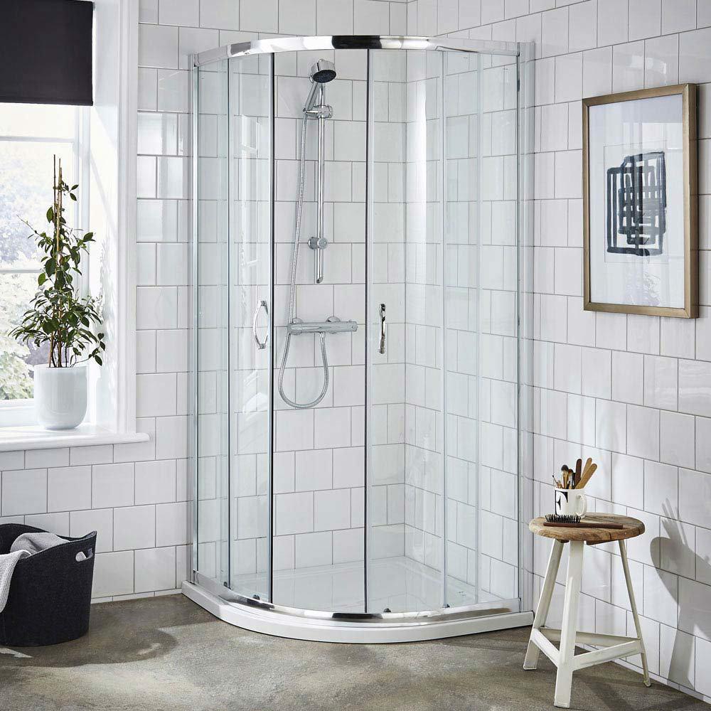 Ella Quadrant Shower Enclosure with Pearlstone Tray - 800 x 800mm - ERQ8-NTP105 Large Image