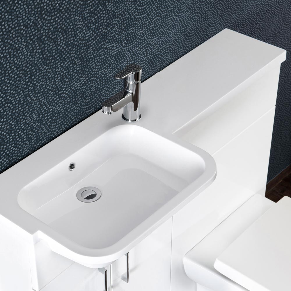 Emporio Compact Semi-Recessed Combination Basin and WC Unit - 1000mm profile large image view 2