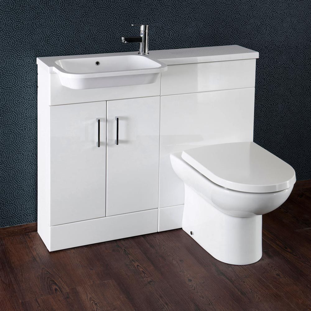 Emporio Compact Semi-Recessed Combination Basin and WC Unit - 1000mm Large Image