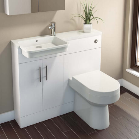 Emporio Compact Semi-Recessed Combination Basin and WC Unit - 1000mm