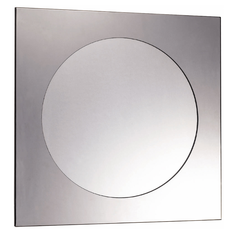 Euroshowers Kvadrat Stainless Steel Frame with Round Mirror - 570 x 570mm Large Image