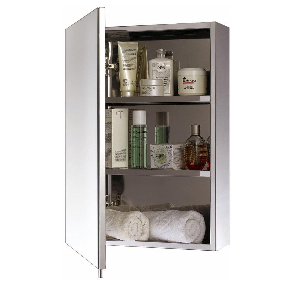Euroshowers One Door Stainless Steel Mirror Cabinet - 17020 Large Image
