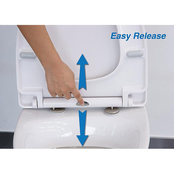 Euroshowers - ONE Seat Universal Soft Close Toilet Seat - White - 83311 profile large image view 2