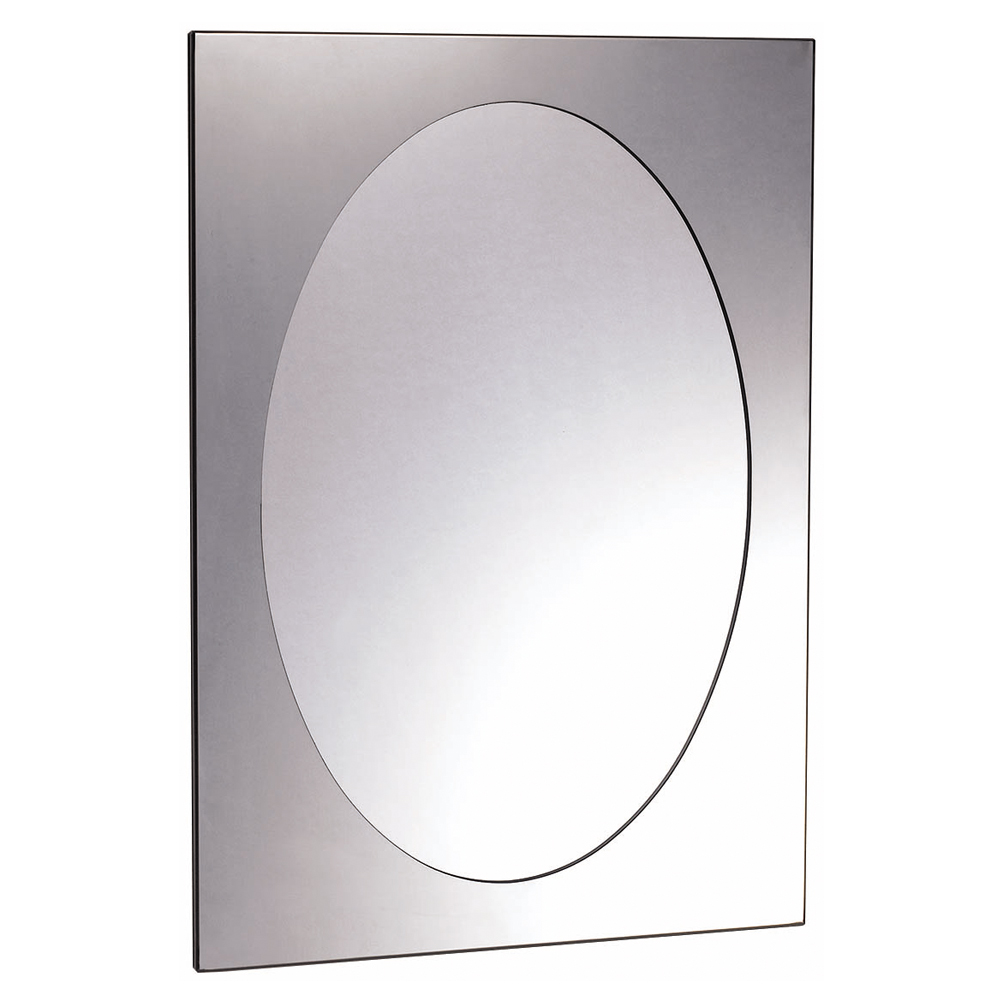 Euroshowers Rektangel Stainless Steel Frame with Oval Mirror - 470 x 670mm Large Image