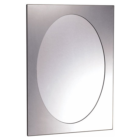 Euroshowers Rektangel Stainless Steel Frame with Oval Mirror - 470 x 670mm