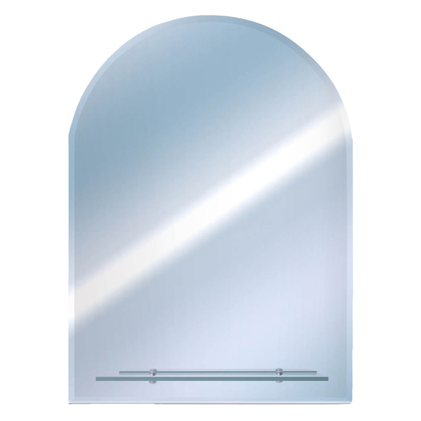 Euroshowers Round Top Bevelled Mirror with Glass Shelf - TEM5040AS profile large image view 1