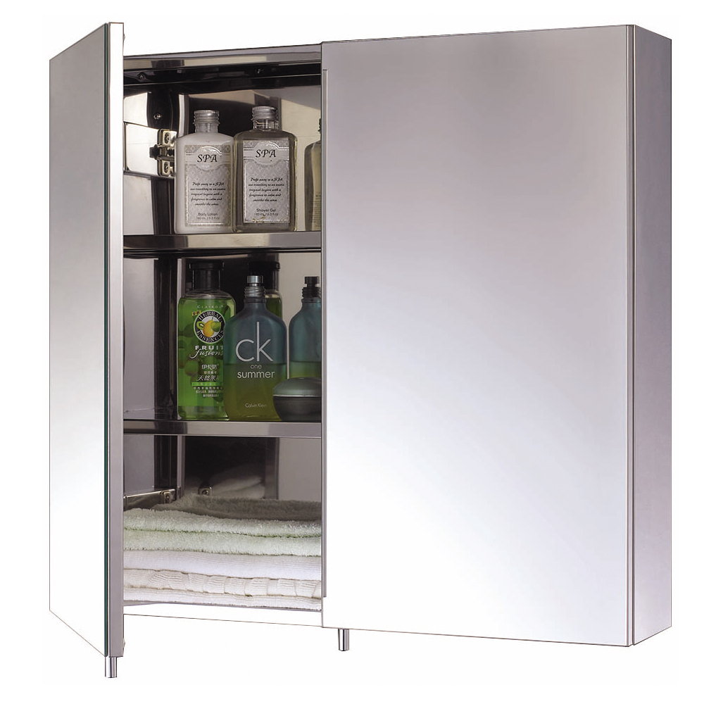 Euroshowers Two Door Stainless Steel Mirror Cabinet - 16920 Large Image