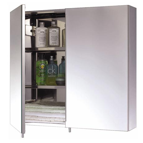 Euroshowers Two Door Stainless Steel Mirror Cabinet - 16920