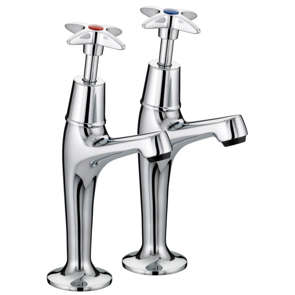 Franke F1081 Sink Pillar Taps with Crosshead Handles