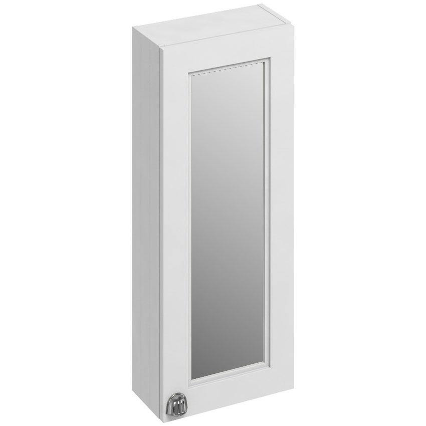 Burlington 30 Single Door Mirror Cabinet - Matt White Large Image