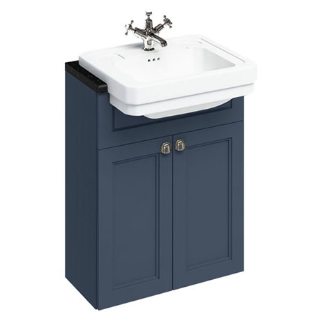 Burlington 60 2-Door Vanity Unit & Classic Semi-Recessed Basin (Blue - 1 Tap Hole)