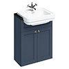 Burlington 60 2-Door Vanity Unit & Classic Semi-Recessed Basin (Blue - 1 Tap Hole) profile small image view 1