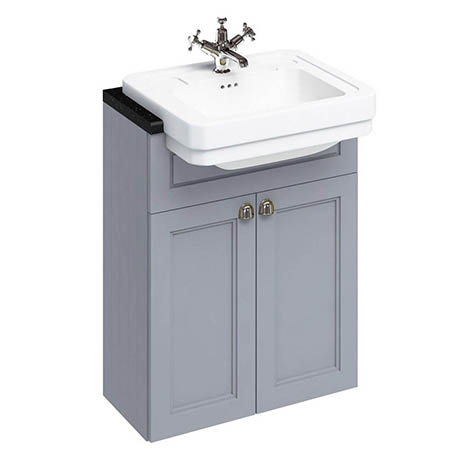 Burlington 60 2-Door Vanity Unit & Classic Semi-Recessed Basin - Classic Grey