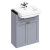 Burlington 60 2-Door Vanity Unit & Classic Semi-Recessed Basin - Classic Grey profile small image view 1