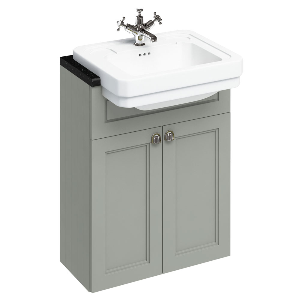 Burlington 60 2-Door Vanity Unit & Classic Semi-Recessed Basin - Dark Olive Large Image