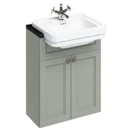 Burlington 60 2-Door Vanity Unit & Classic Semi-Recessed Basin - Dark Olive