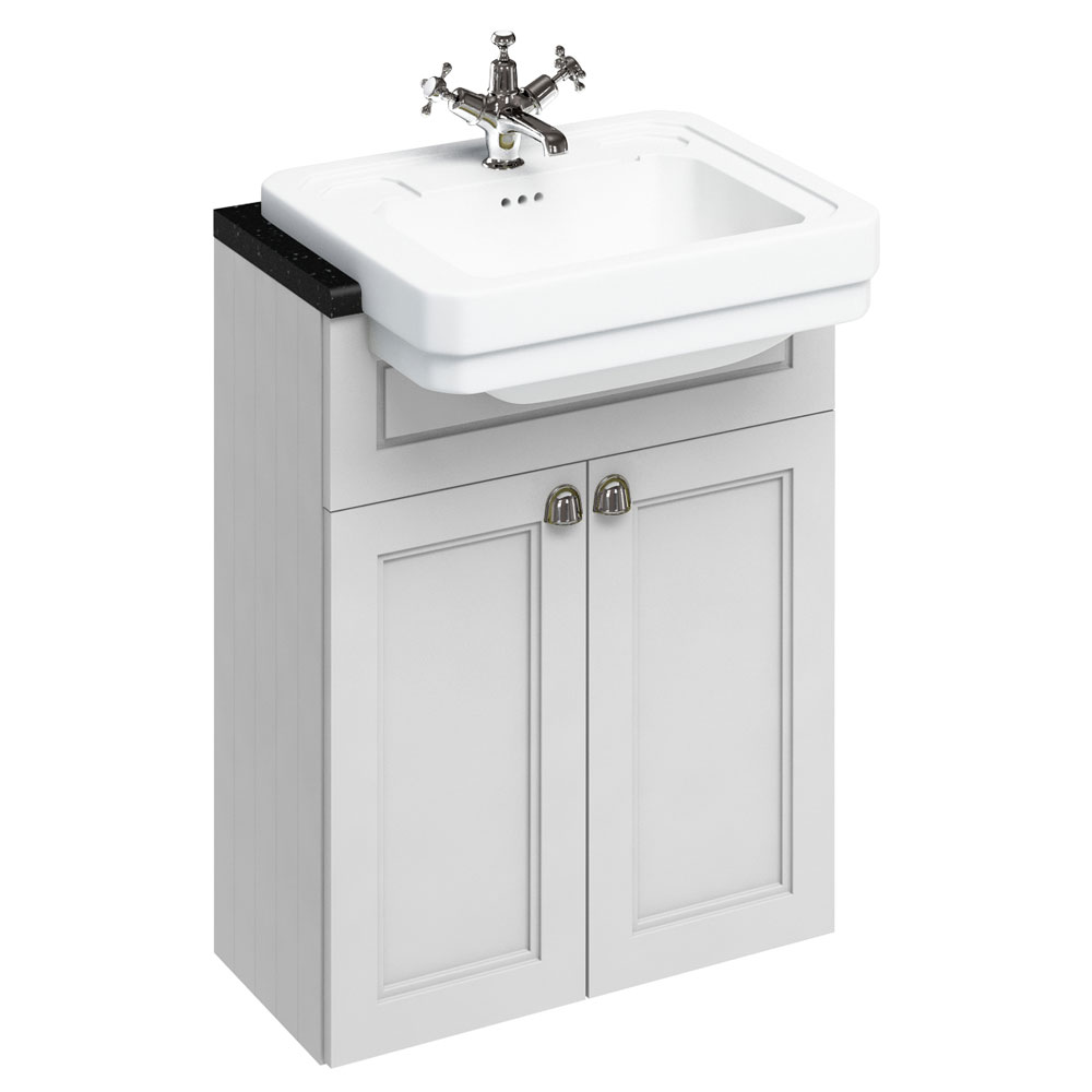 Burlington 60 2-Door Vanity Unit & Classic Semi-Recessed Basin - Matt White Large Image