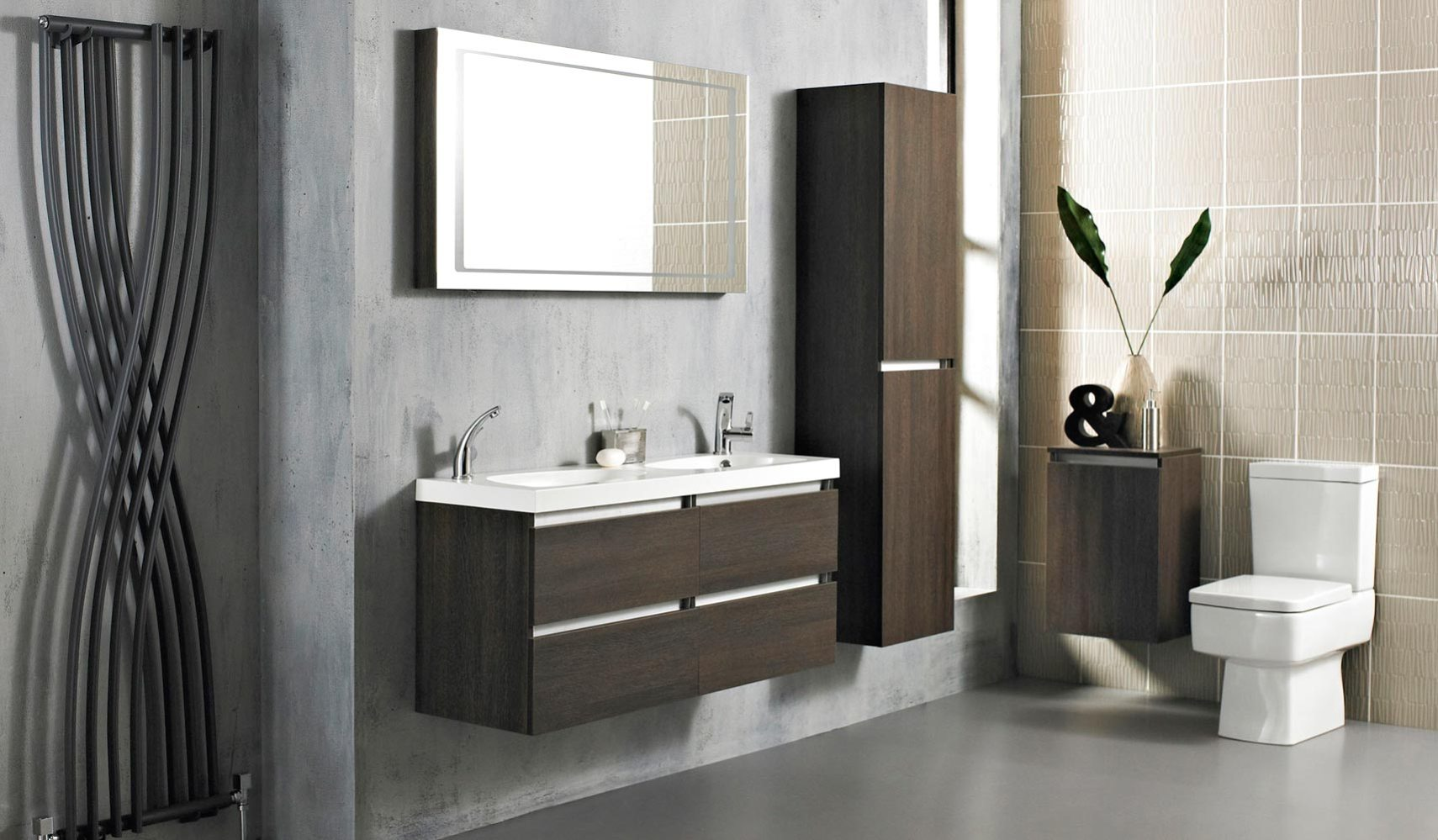 Memoir Gloss Walnut Bathroom Suite