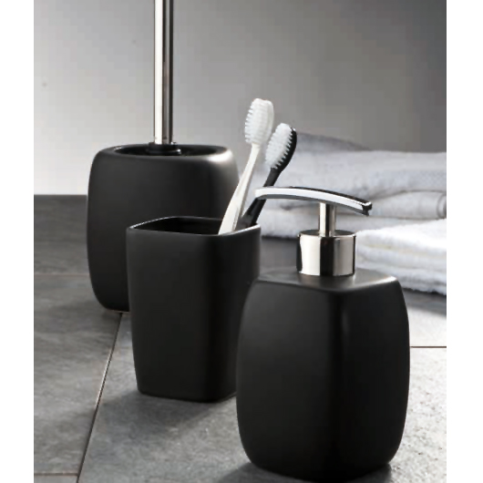 Wenko Faro Ceramic Bathroom Accessories Set - Black profile large image view 2