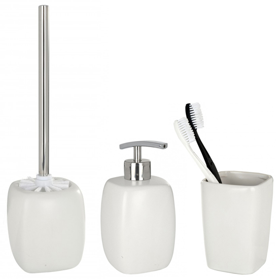 Wenko faro ceramic bathroom accessories set white at for Bathroom accessories uk