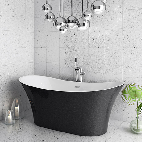 Nova Black Sparkle 1750 Modern Double Ended Slipper Bath