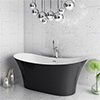 Nova Black Sparkle 1750 Modern Double Ended Slipper Bath profile small image view 1