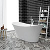 Nova 1750 Modern Double Ended Slipper Bath profile small image view 1