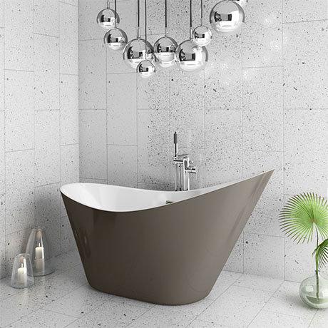 Nova Titanium Silver 1570 Modern Small Free Standing Slipper Bath