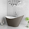Nova Titanium Silver 1570 Modern Small Free Standing Slipper Bath profile small image view 1
